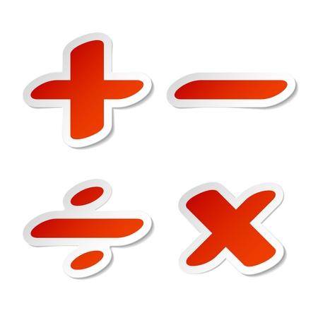 rekensommen: Wiskundige symbolen stickers Stock Illustratie