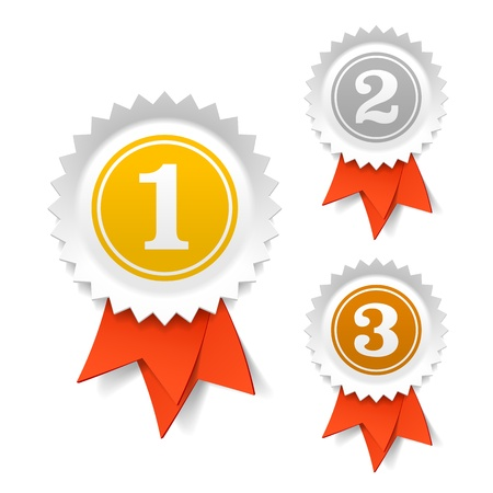 primer lugar: Oro, plata y bronce, cintas de premio Vectores