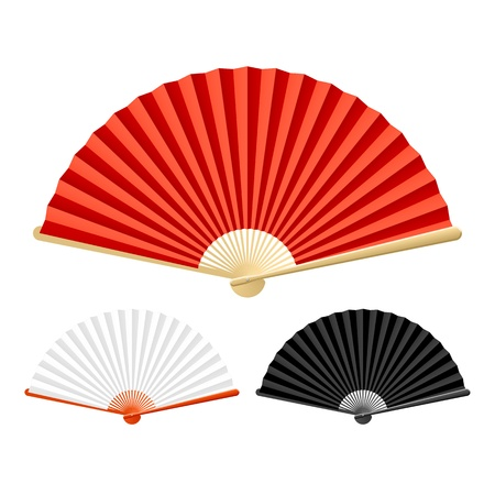 paper fan: Abanico plegable Vectores