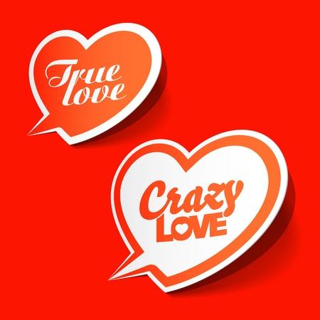 messages: Crazy and True love bubbles Illustration