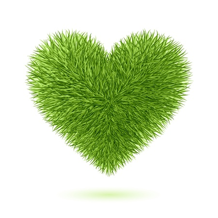 romantic heart: Grass heart symbol Illustration