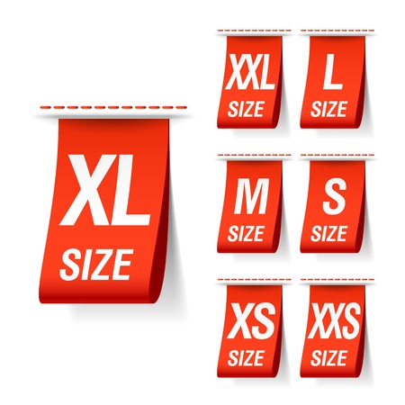 identify: Size clothing labels Illustration
