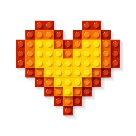 block: Heart made from plastic blocks Illustration