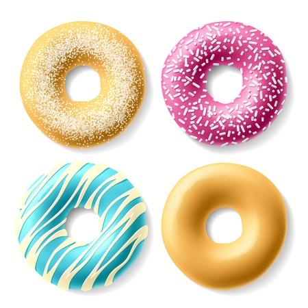 masa: Donuts de colores Vectores