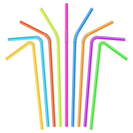 colorful straw: Colorful drinking straws Illustration