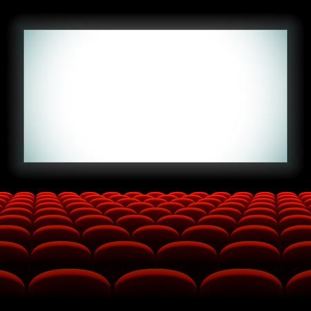 스크린과 좌석 영화관 강당