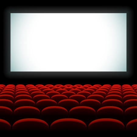 theater seats: Cinema auditorium with screen and seats Illustration