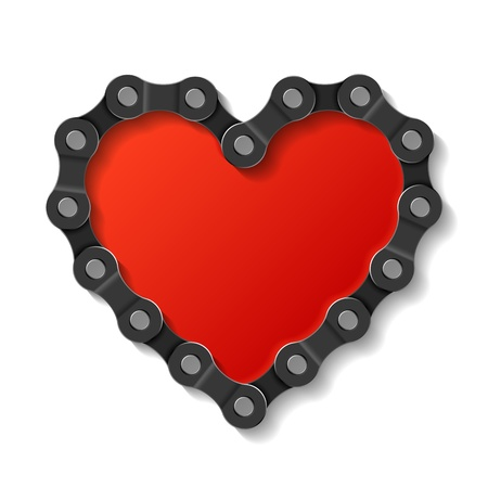 Heart made of chain Stock Vector - 12493391