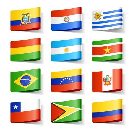 bandera de chile: Banderas del mundo de América del Sur Vectores