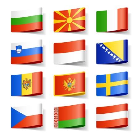 Wereld vlaggen van Europa Stock Illustratie