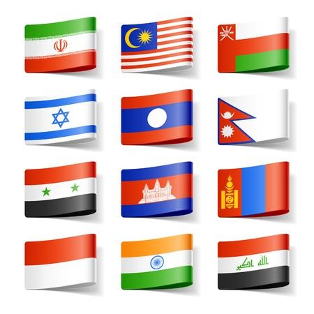 Wereld vlaggen Azië Vector Illustratie