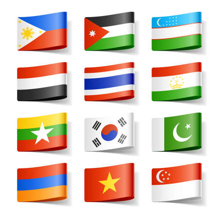 World flags  Asia  Stock Photo - 12595518