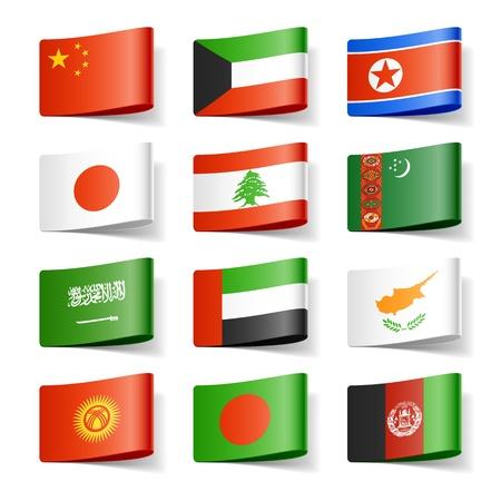 Wereld vlaggen Azië Stock Illustratie