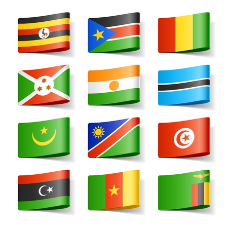 flag: Wereld vlaggen Afrika Stock Illustratie