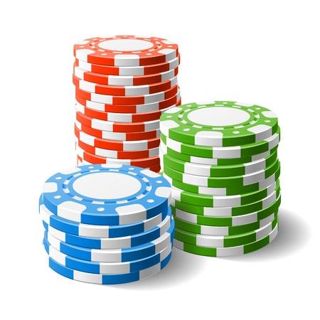 jetons poker: Jetons de casino piles Illustration