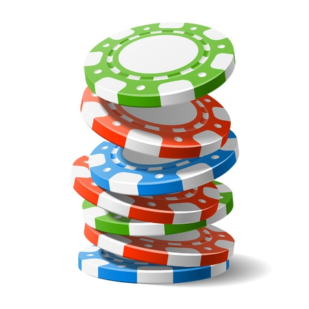 betting: Falling casino chips Illustration