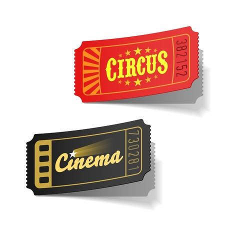cirkusz: Cirkusz-és mozijegy Illusztráció