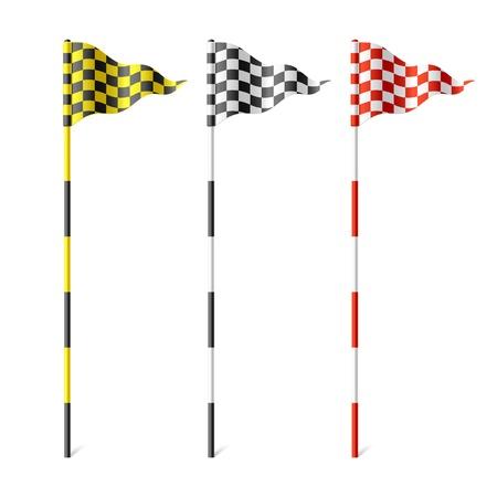 golf drapeau: Drapeaux � damier Illustration