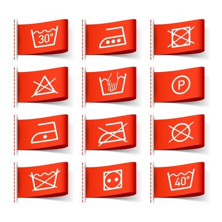 Símbolos en las etiquetas de la ropa de lavandería Ilustración de vector