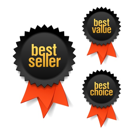 best products: Best seller, best value and best choice labels with ribbon