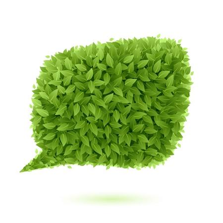 マンガの吹き出し: 緑の葉の吹き出し