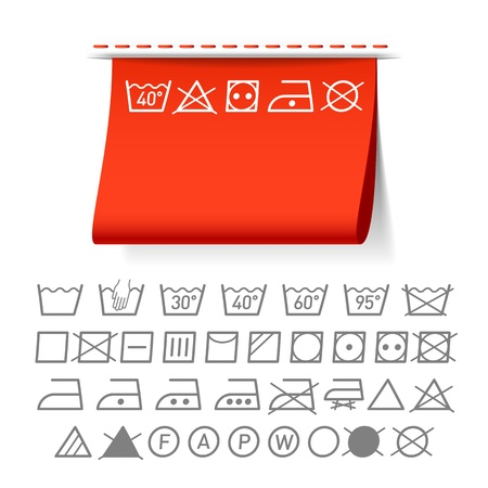 clothing tag: Washing symbols Illustration