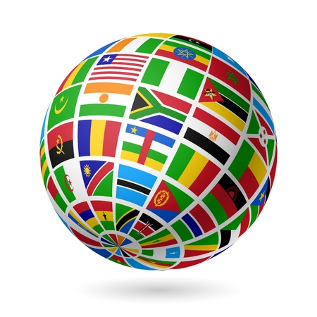 Flags globe  Africa  Vector