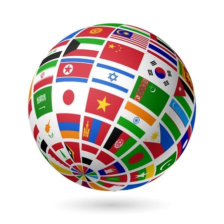 weltkugel asien: Flags Welt Asien Illustration