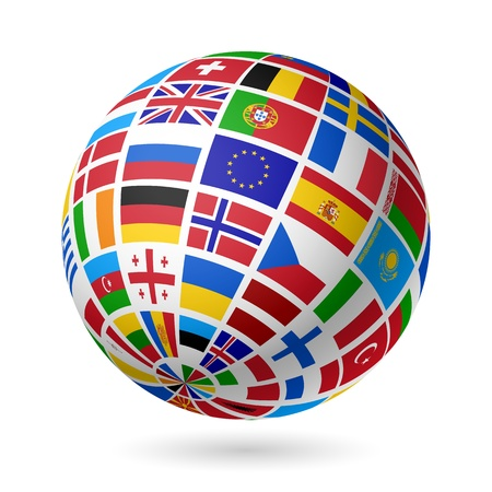Flags globe  Europe  Illustration