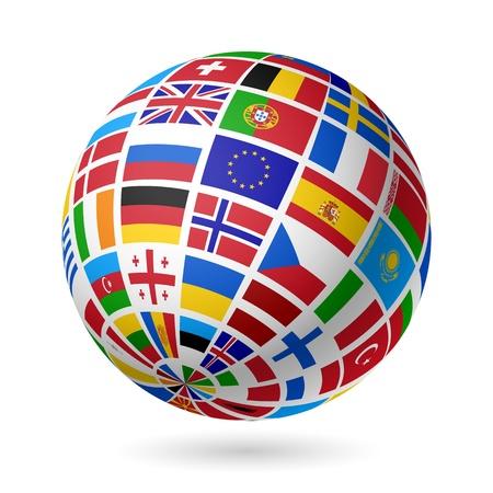 Flags globe Europe