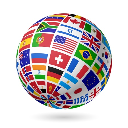 Flags globe Stock Vector - 15017438
