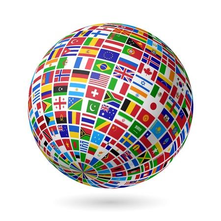 weltkugel asien: Flags Welt Illustration