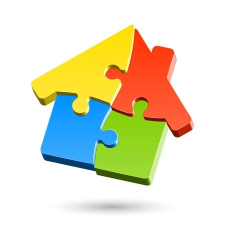 Puzzle maison Vecteurs