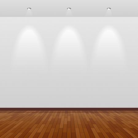 arte moderno: Habitaci�n con pared blanca y suelo de madera Vectores
