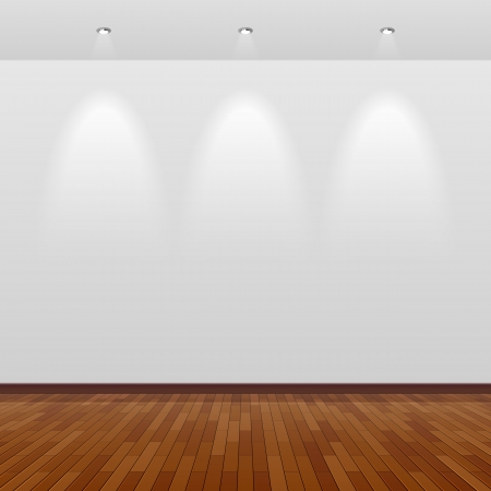 art gallery interior: Room with white wall and wooden floor Illustration