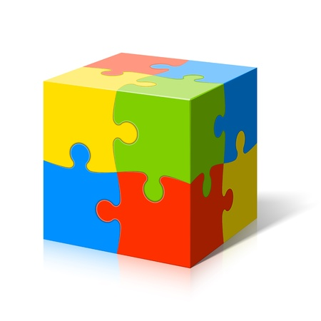 connection block: Puzzle cube Illustration