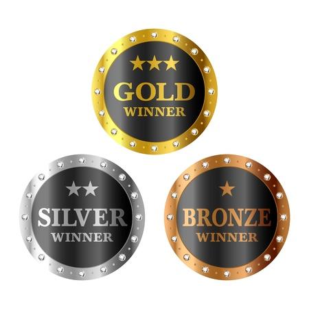 goldmedaille: Gold, Silber und Bronze Medaillen Gewinner Illustration