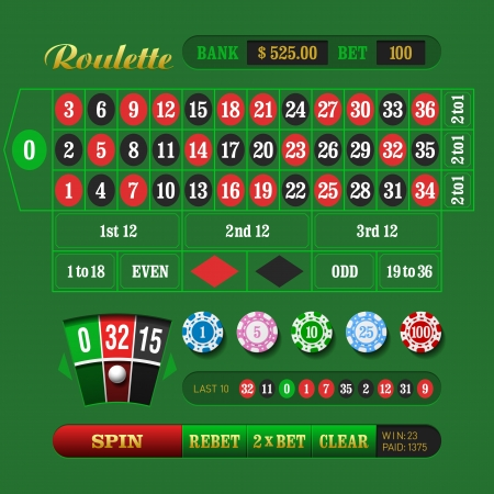 European Roulette Online Stock Vector - 17455279