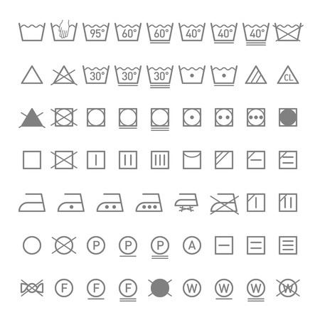 polyester: Laundry symbols Illustration