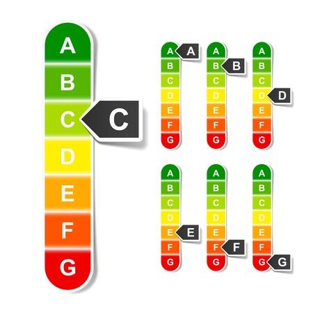 consumo energia: Valutazione di rendimento energetico Vettoriali
