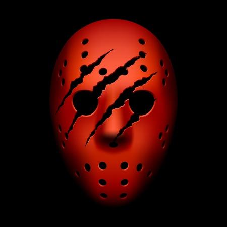 Rode hockey masker met sporen van klauwen