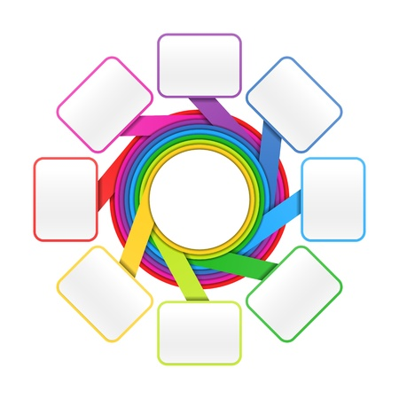 workflow: Eight elements circle colorful presentation or design template Illustration