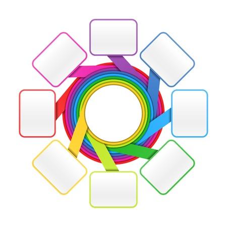 process diagram: Otto elementi cerchio presentazione colorata o modello di progettazione