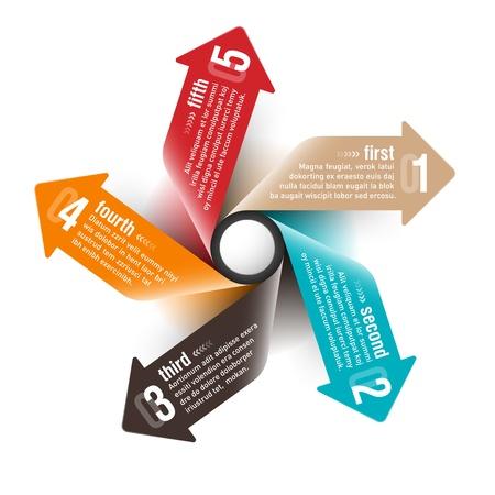 message box: Five directions arrows design template