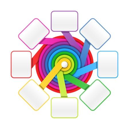 fluss: Acht Elemente Kreis bunte Pr�sentation oder Designvorlage Illustration
