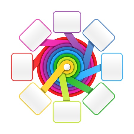 design process: Eight elements circle colorful presentation or design template Illustration