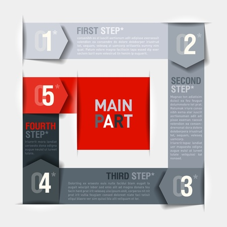 main part: Consecutive steps design template Illustration