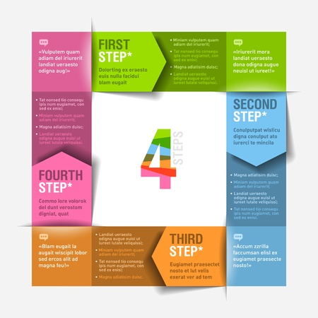 consecutive: Four consecutive steps cycle design template