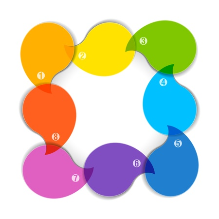 consecutive: Colorful diagram with eight blank boxes