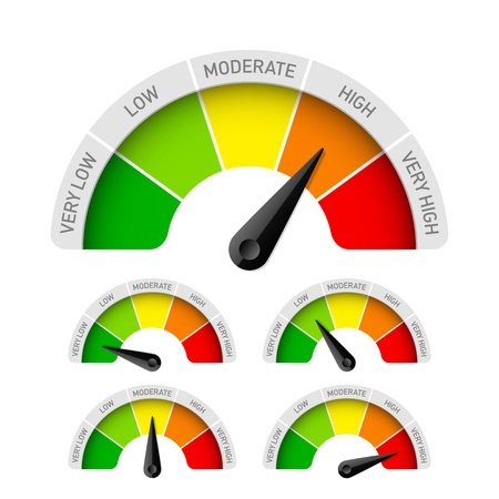 Low, moderate, high - rating meter Stock Vector - 18653287